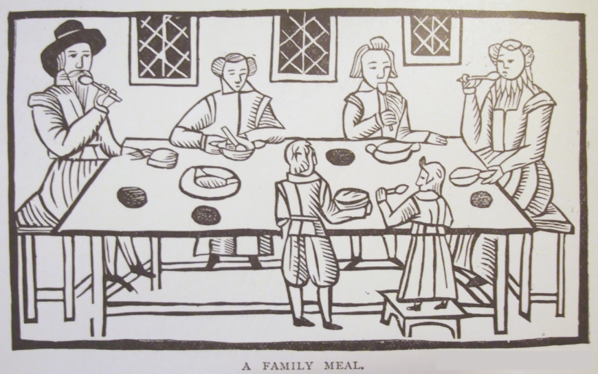 An early 17th century family supper. Image via www.historiccookingschool.com