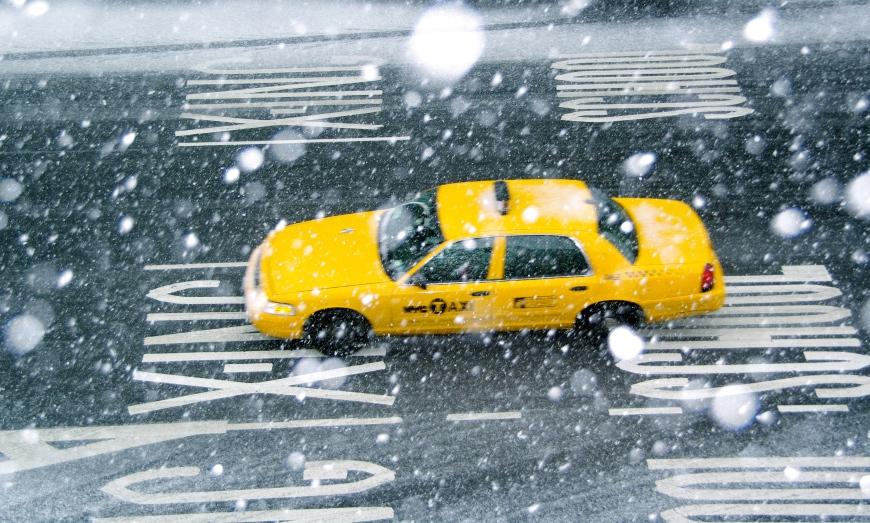 snowy nyc cab